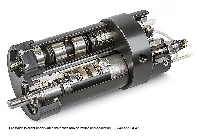 Pressure tolerant underwater drive with maxon motor and gearhead, EC-i40 and GP42